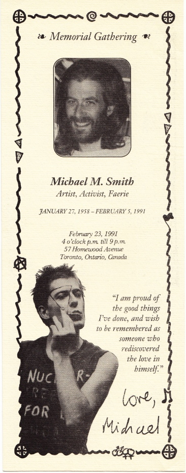 Front of memorial service card for Michael Smith