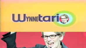 "Image of Ontario Premier Kathleen Wynne, raising hand and shouting, with text ""Wynntario"" above her"